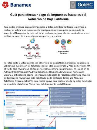 Guía para efectuar pago de Impuestos Estatales del Gobierno de Baja California
