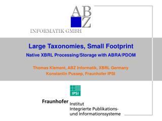 Large Taxonomies, Small Footprint Native XBRL Processing