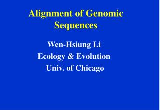 Alignment of Genomic Sequences