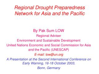 Regional Drought Preparedness Network for Asia and the Pacific