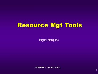 Resource Mgt Tools