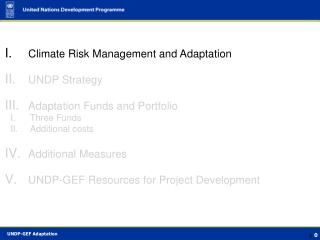 Climate Risk Management and Adaptation UNDP Strategy Adaptation Funds and Portfolio Three Funds