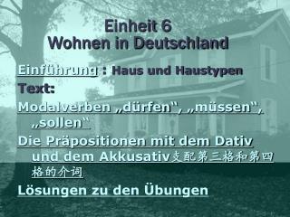 Einheit 6  Wohnen in Deutschland