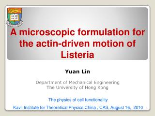 A microscopic formulation for the actin-driven motion of Listeria