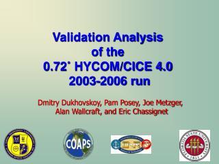 Validation Analysis  of the  0.72 ˚  HYCOM/CICE 4.0  2003-2006 run