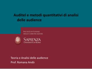 Auditel e metodi quantitativi di analisi delle audience