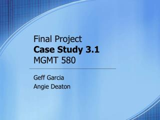 Final Project  Case Study 3.1 MGMT 580