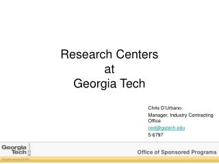 Research Centers at Georgia Tech