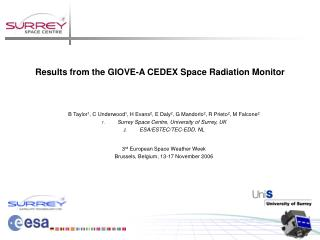 Results from the GIOVE-A CEDEX Space Radiation Monitor