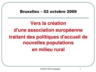 Bruxelles – 02 octobre 2009