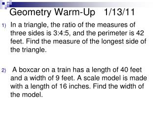 Geometry Warm-Up	1/13/11