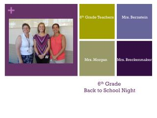 6 th  Grade  Back to School Night
