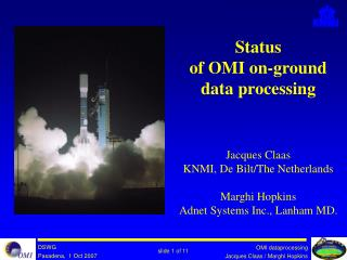Status of OMI on-ground data processing