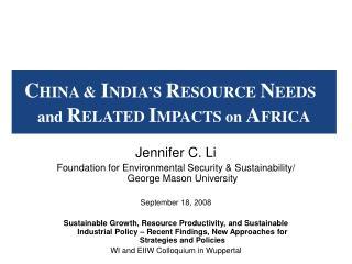 Jennifer C. Li Foundation for Environmental Security & Sustainability/ George Mason University