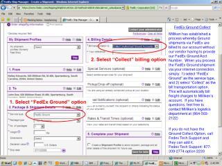 "1. Select ""FedEx Ground"" option"