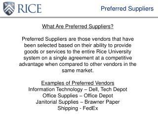 Preferred Suppliers
