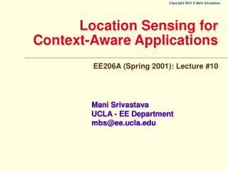 Location Sensing for Context-Aware Applications