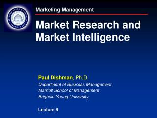 Marketing Management Market Research and Market Intelligence