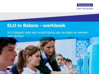 ELO in Balans - werkboek