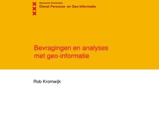 Bevragingen en analyses met geo-informatie