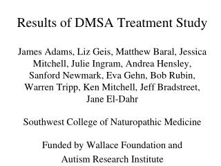 Results of DMSA Treatment Study