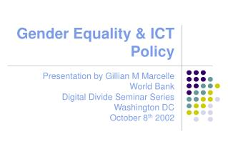 Gender Equality & ICT Policy