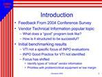 Vendor Technical Information