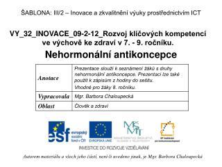 VY_32_INOVACE_09-2-12_Rozvoj klíčových kompetencí  ve výchově ke zdraví v 7. - 9. ročníku.