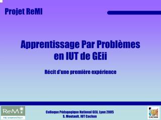 Apprentissage Par Problèmes en IUT de GEii