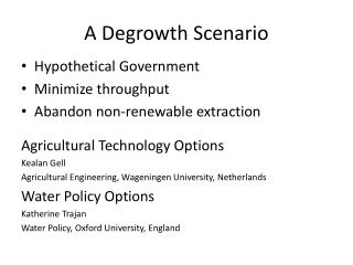 A Degrowth Scenario