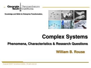 Complex Systems Phenomena, Characteristics & Research Questions
