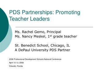 PDS Partnerships: Promoting Teacher Leaders