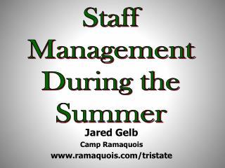 Jared Gelb Camp Ramaquois ramaquois/tristate