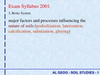 Exam Syllabus 2001 3. Biotic System