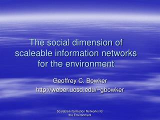 The social dimension of scaleable information networks for the environment