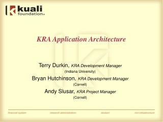 KRA Application Architecture