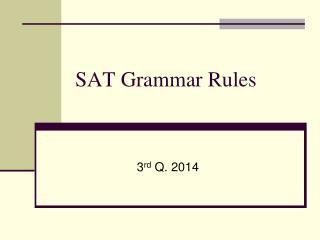 SAT Grammar Rules