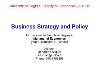 University of Cagliari, Faculty of Economics, 2011-12