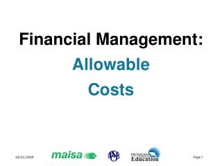 Financial Management: Allowable  Costs