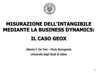 MISURAZIONE DELL'INTANGIBILE MEDIANTE LA BUSINESS DYNAMICS:  IL CASO GEOX