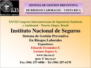 SISTEMA DE GESTION PREVENTIVA DE RIESGOS LABORALES -  COSTA RICA