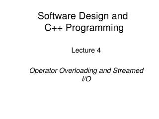 Software Design and   C++ Programming
