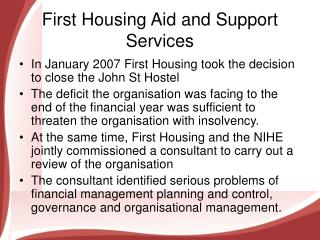 First Housing Aid and Support Services