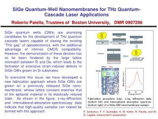 SiGe Nanomembrane Characterization Roberto Paiella, Trustees of  Boston University,   DMR 0907296