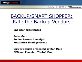 BACKUP/SMART SHOPPER: Rate the Backup Vendors