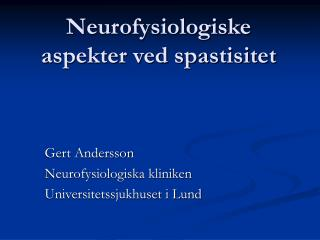 Neurofysiologiske aspekter ved spastisitet