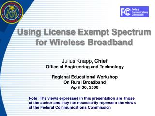 Using License Exempt Spectrum for Wireless Broadband