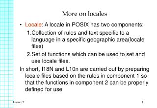 More on locales