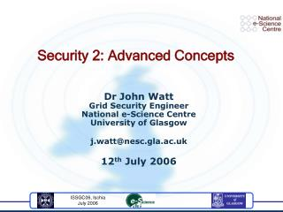 Security 2: Advanced Concepts