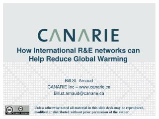 How International R&E networks can Help Reduce Global Warming